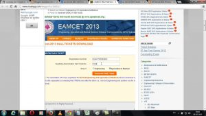 AP EAMCET 2013 Hall Ticket / Admit Card Download at www.apeamcet.org