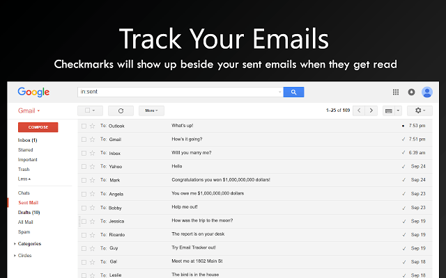 how to tell when someone reads sent email gmail